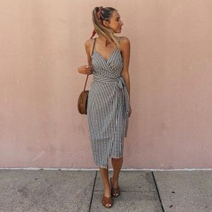 Gingham Midi Wrap Dress